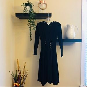 Long Sleeved Midi Dress with Gold Buttons